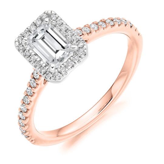 18ct Rose Gold Emerald Cut Diamond Halo Engagement Ring 1.05ct