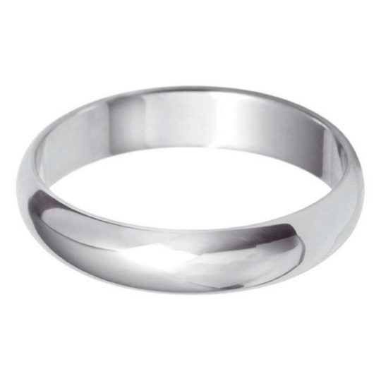 Gents 9ct White Gold 4mm D-Shape Wedding Ring