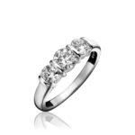 Platinum Brilliant Cut Diamond Bar Set Trilogy Engagement Ring 1.00ct