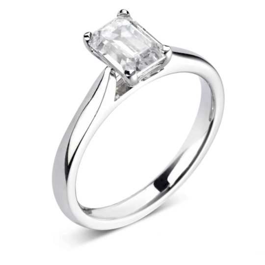 18ct White Gold Emerald Cut Diamond Engagement Ring 0.60ct