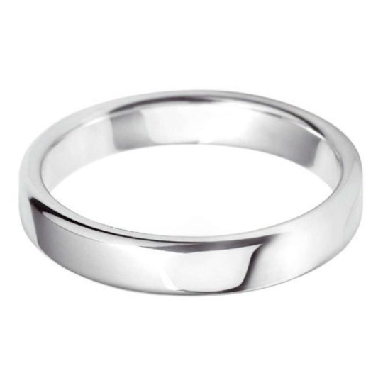 Gents 18ct White Gold 4mm Court Wedding Ring