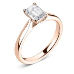 18ct Rose Gold Emerald Cut Diamond Engagement Ring 0.60ct