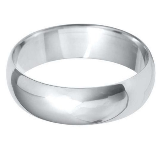 Gents 9ct White Gold 6mm D-Shape Wedding Ring