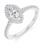18ct Yellow Gold Marquise Cut Diamond Halo Engagement Ring 1.15ct