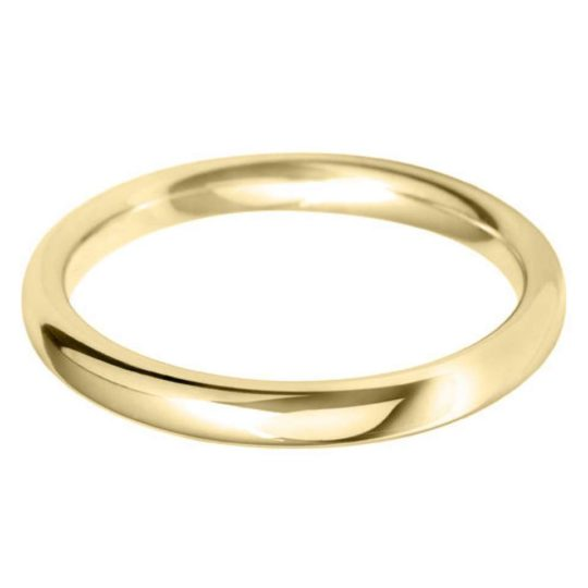 Ladies 9ct Yellow Gold 2.5mm Court Wedding Ring