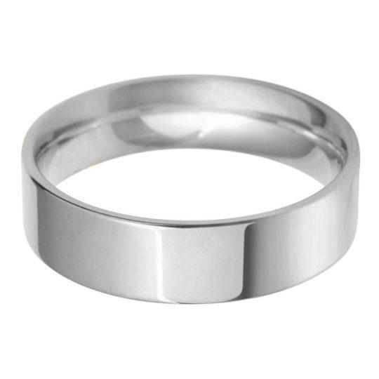 Gents Platinum 6mm Flat Court Wedding Ring