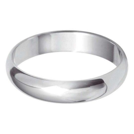 Ladies 9ct White Gold 4mm D-Shape Wedding Ring