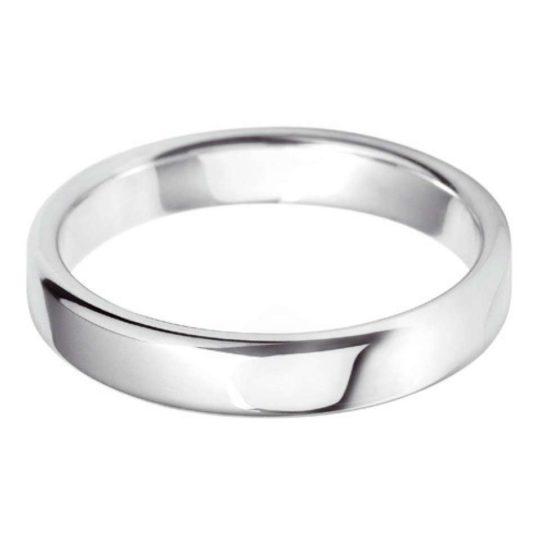 Ladies Platinum 4mm Court Wedding Ring