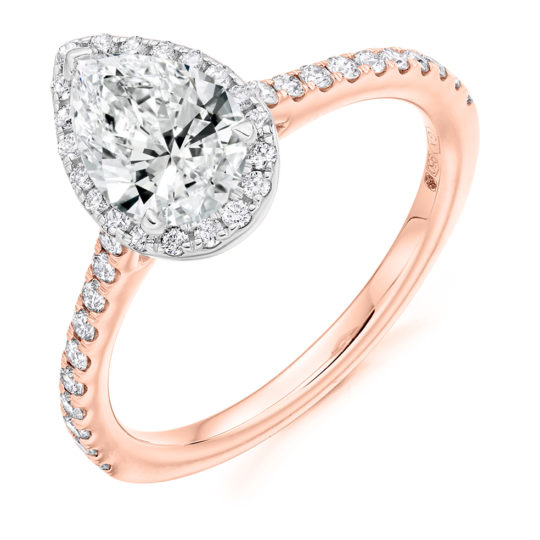18ct Rose Gold Pear Shape Diamond Halo Engagement Ring 1.10ct