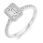 18ct Yellow Gold Emerald Cut Diamond Halo Engagement Ring 1.05ct