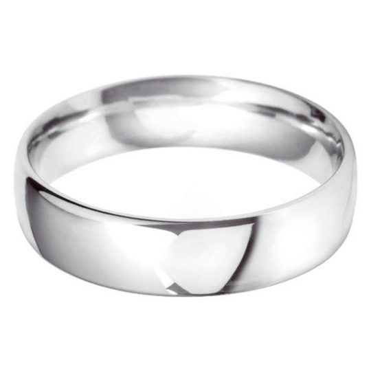 Gents 18ct White Gold 6mm Court Wedding Ring