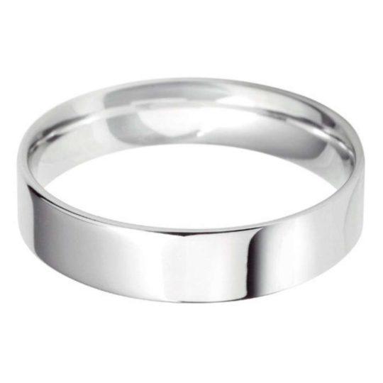 Gents Platinum 5mm Light Flat Court Wedding Ring