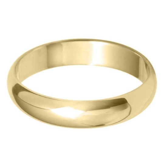 Gents 9ct Yellow Gold 4mm D-Shape Wedding Ring