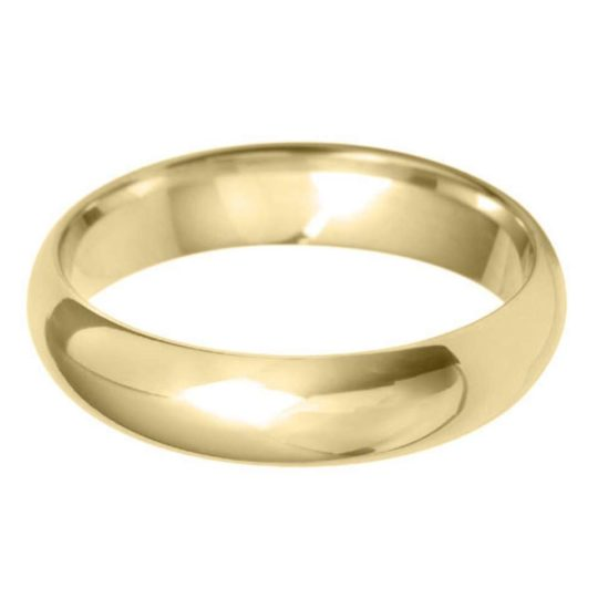 Gents 9ct Yellow Gold 5mm D-Shape Wedding Ring