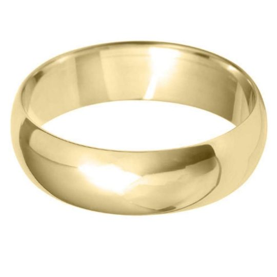 Gents 9ct Yellow Gold 6mm D-Shape Wedding Ring