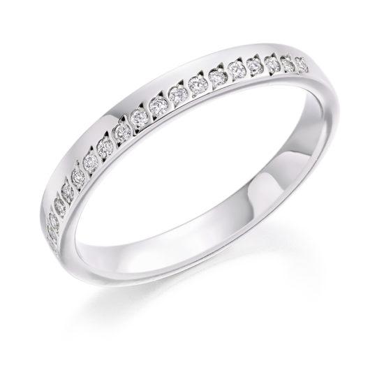 Platinum Brilliant Cut Diamond Offset Wedding Ring 0.15ct