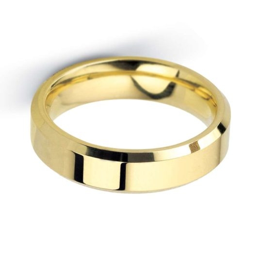 Gents 9ct Yellow Gold 5mm Bevelled Edge Wedding Ring