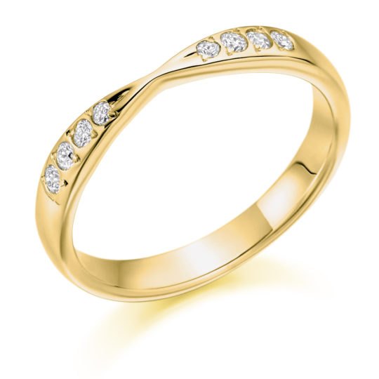 18ct Yellow Gold Brilliant Cut Diamond Set Shaped Wedding Ring 0.15ct