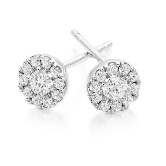 18ct White Gold Brilliant Cut Diamond Halo Earrings 0.50ct