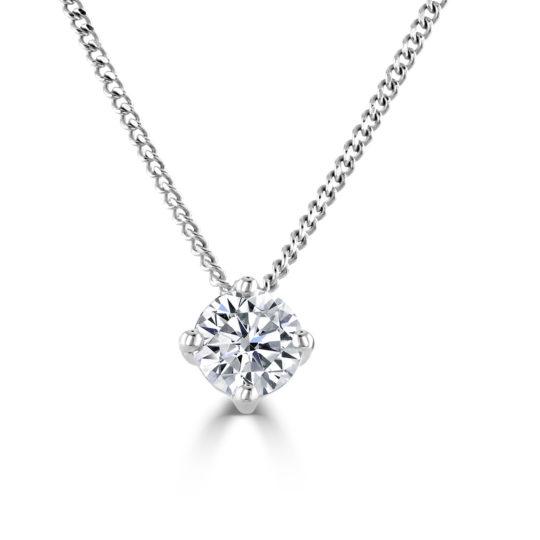 9ct White Gold AVA Diamond Pendant & Chain 0.40ct