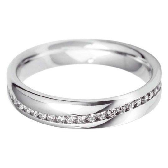 Platinum Brilliant Cut 4mm Diamond Set Full Wave Wedding Ring (GVS)