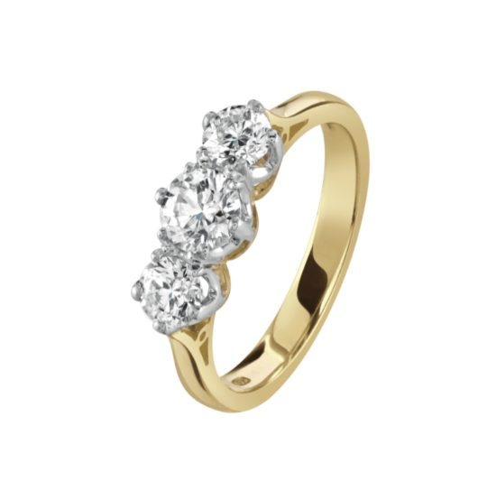 18ct Yellow Gold Brilliant Cut Diamond Trilogy Engagement Ring 1.00ct