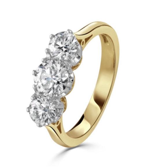 18ct Yellow Gold Brilliant Cut Diamond Trilogy Engagement Ring 1.50ct