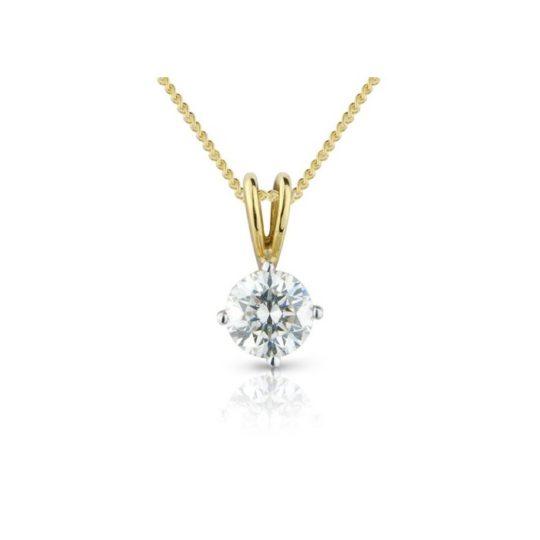 18ct Yellow Gold Brilliant Cut Diamond Pendant 0.80ct (GIA)
