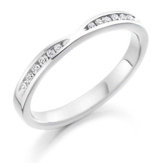 Platinum Brilliant Cut Diamond Set Cut Out Wedding Ring 0.18ct