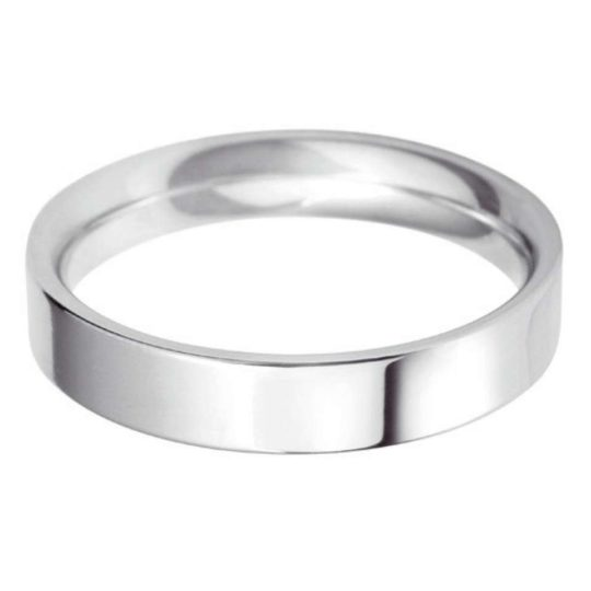 Ladies Platinum 4mm Flat Court Wedding Ring