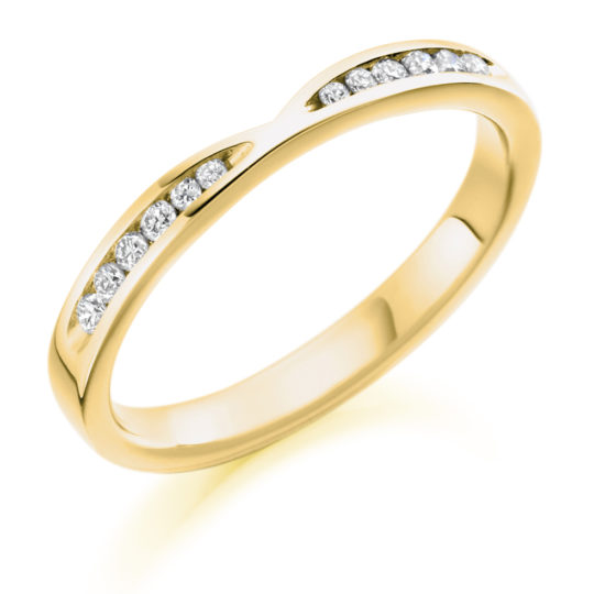 18ct Yellow Gold Brilliant Cut Diamond Set Cut Out Wedding Ring 0.18ct