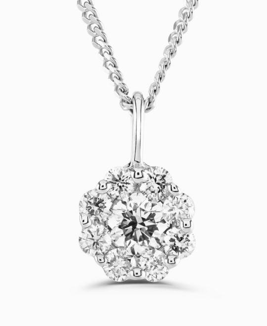 9ct White Gold BELLA Diamond Pendant & Chain 0.40ct