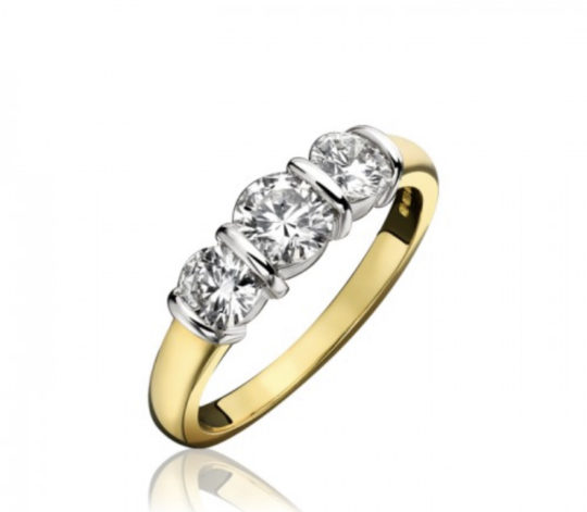18ct Yellow Gold Brilliant Cut Diamond Trilogy Engagement Ring 1.00ct