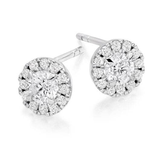 18ct White Gold Brilliant Cut Diamond Halo Earrings 1.00ct