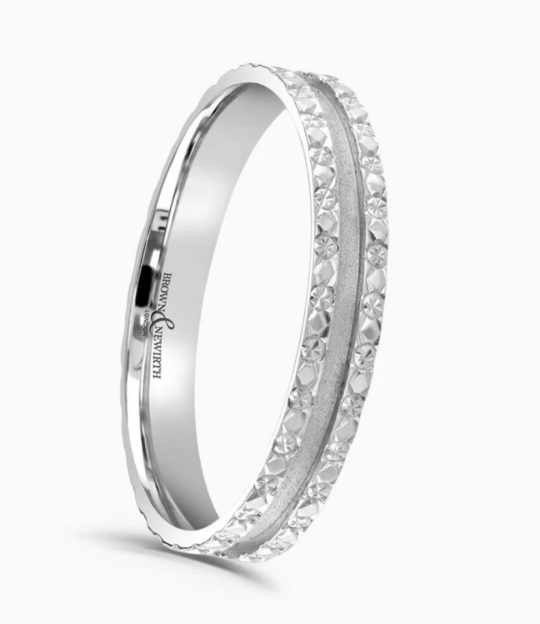Ladies Platinum 3mm Patterned Wedding Ring