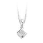 18ct White Gold Princess Cut Diamond Pendant 0.15ct