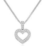18ct White Gold Brilliant Cut Diamond Heart Pendant 0.30ct