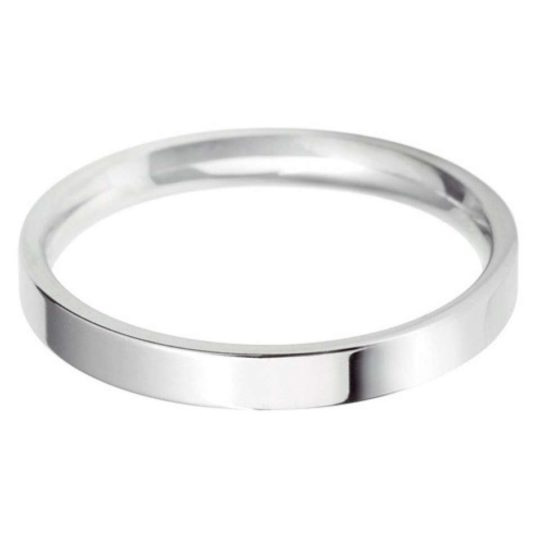 Ladies Platinum 2.5mm Light Flat Court Wedding Ring