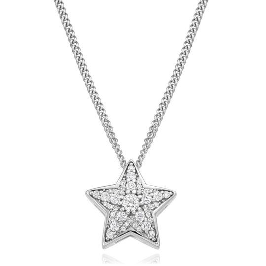 18ct White Gold Brilliant Cut Diamond Star Pendant 0.27ct