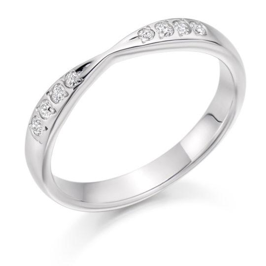 Platinum Brilliant Cut Diamond Set Shaped Wedding Ring 0.15ct