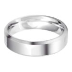 Gents 9ct White Gold 6mm Bevelled Edge Wedding Ring