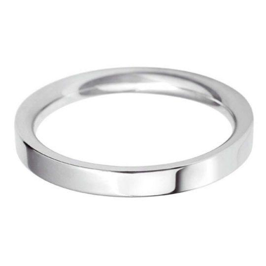 Ladies Platinum 2.5mm Flat Court Wedding Ring