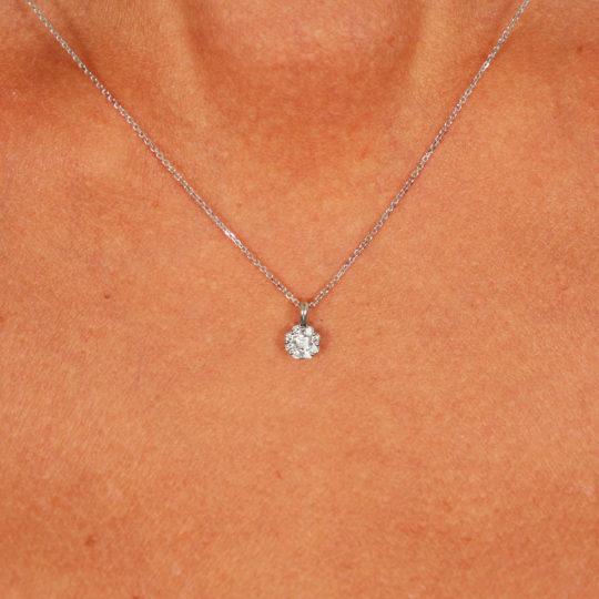 9ct White Gold BELLA Diamond Pendant & Chain 0.15ct