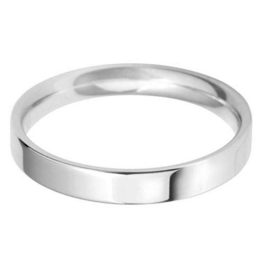 Ladies Platinum 3mm Light Flat Court Wedding Ring