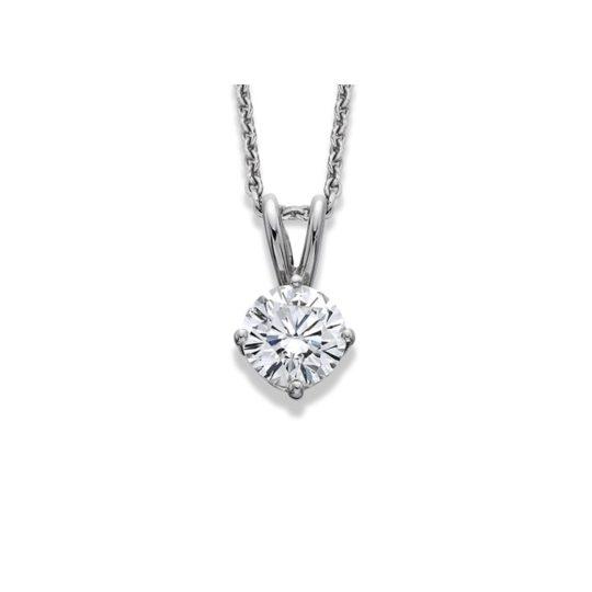 18ct White Gold Brilliant Cut Diamond Pendant 0.90ct (GIA)