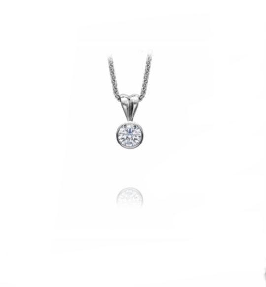 18ct White Gold Brilliant Cut Bezel Set Diamond Pendant 0.20ct