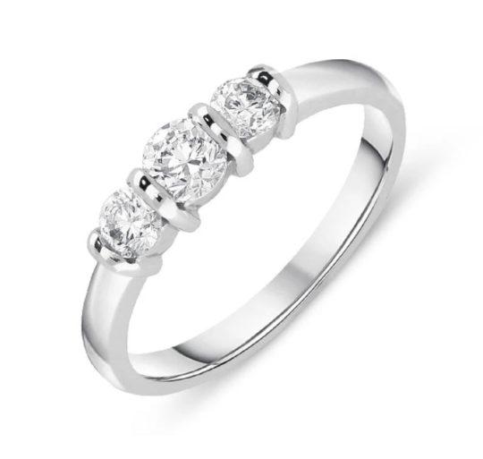 Platinum Brilliant Cut Diamond Bar Set Trilogy Engagement Ring 0.50ct