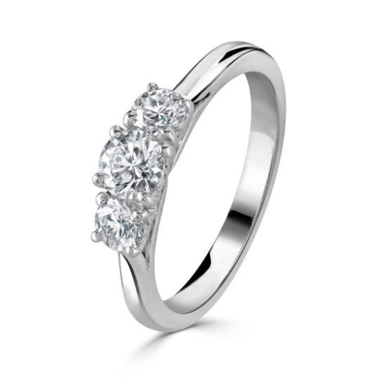 Platinum Brilliant Cut Diamond Trilogy Engagement Ring 1.00ct