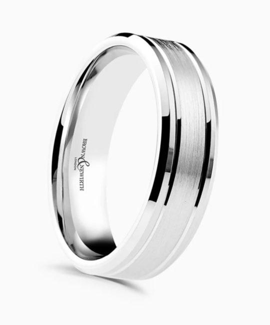 Gents Platinum 6mm Bevelled Edge Patterned Wedding Ring