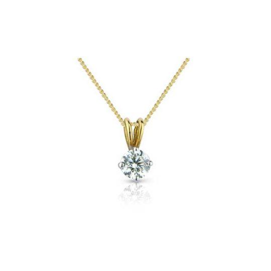 18ct Yellow Gold Brilliant Cut Diamond Pendant 0.50ct (GIA)